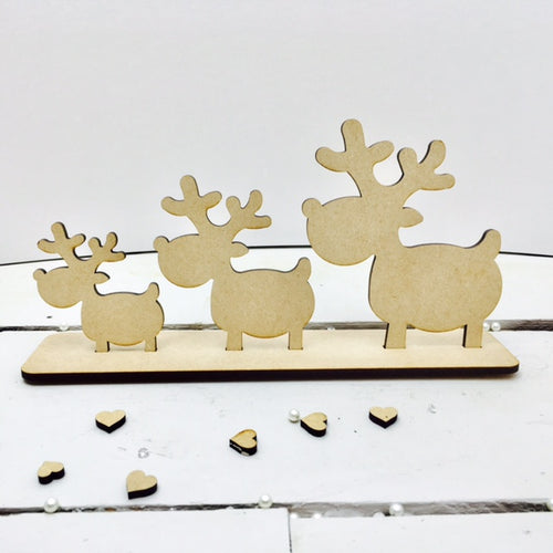 Reindeers on Plinth -  Family of 3