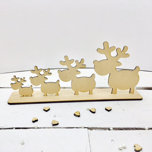 Reindeers on Plinth -  Family of 4