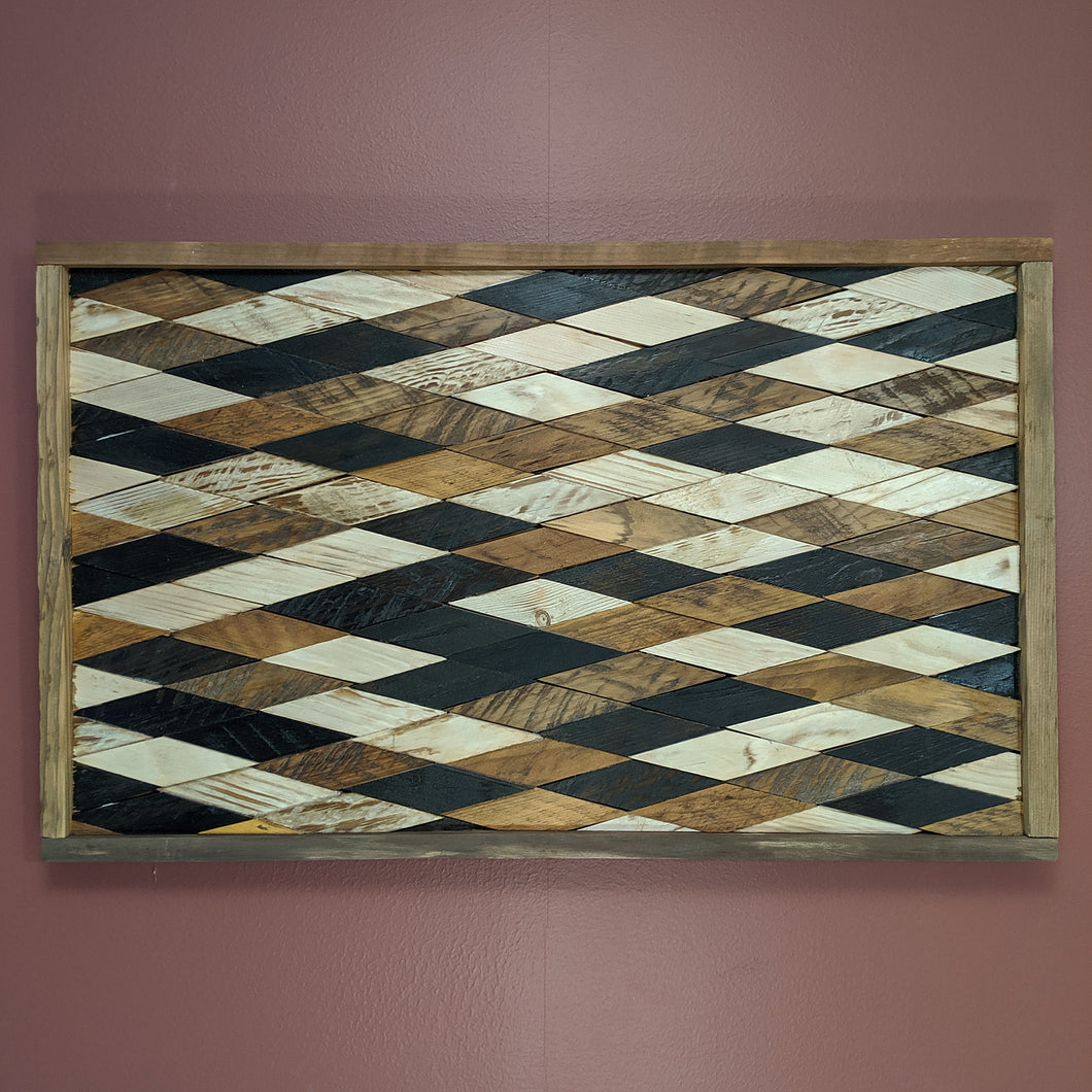 Geometric 'Diamond In the Rough' Wooden Artwork