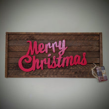 Reclaimed Tobacco Stick Scrolled 'Merry Christmas' Sign