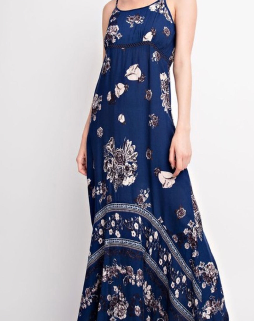 Navy Ivory Floral Print Spaghetti Strap Maxi Dress