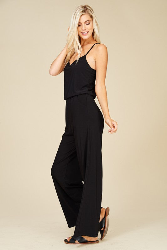 Black Wide Leg Flare Jumpsuit