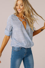 Blue Woven Surplice 3/4 Sleeves Top