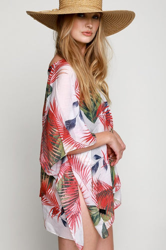 Red Tropical Pattern Coverup