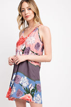 Peach Purple Floral Print Triangle Ring Mini Dress