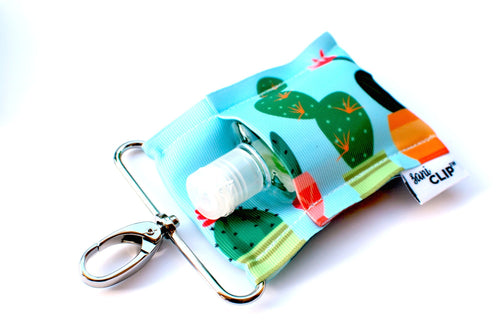 SaniClip™ Hand Sanitizer Bottle Holder - Aqua Cactus