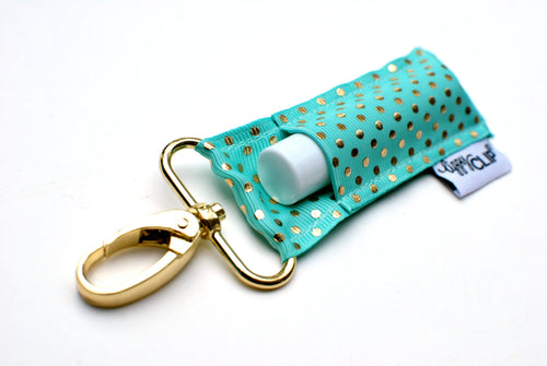 LippyClip® Aqua Gold Dots