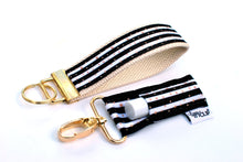 LippyClip® Keychain - Black and White Stripe With Gold Dots - Natural