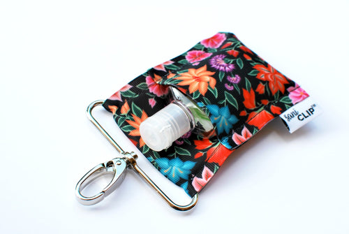 SaniClip™ Hand Sanitizer Bottle Holder - Black Tropical Floral