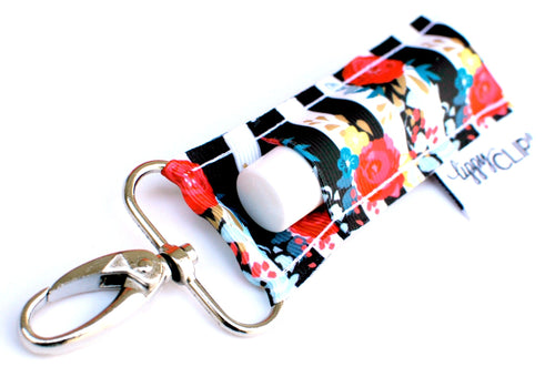 LippyClip® Black and White Stripe With Floral