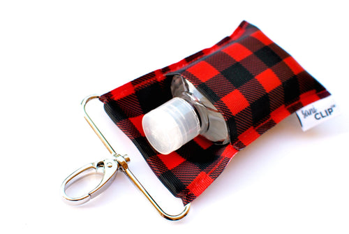 SaniClip™ Hand Sanitizer Bottle Holder - Buffalo Plaid