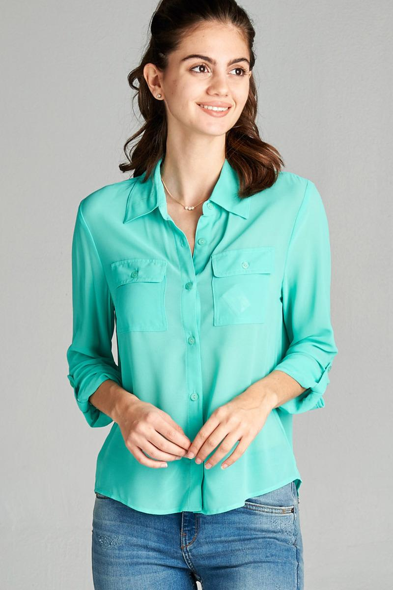 Ladies fashion long sleeve front pocket chiffon blouse w/ back button detail -id.CC35641b