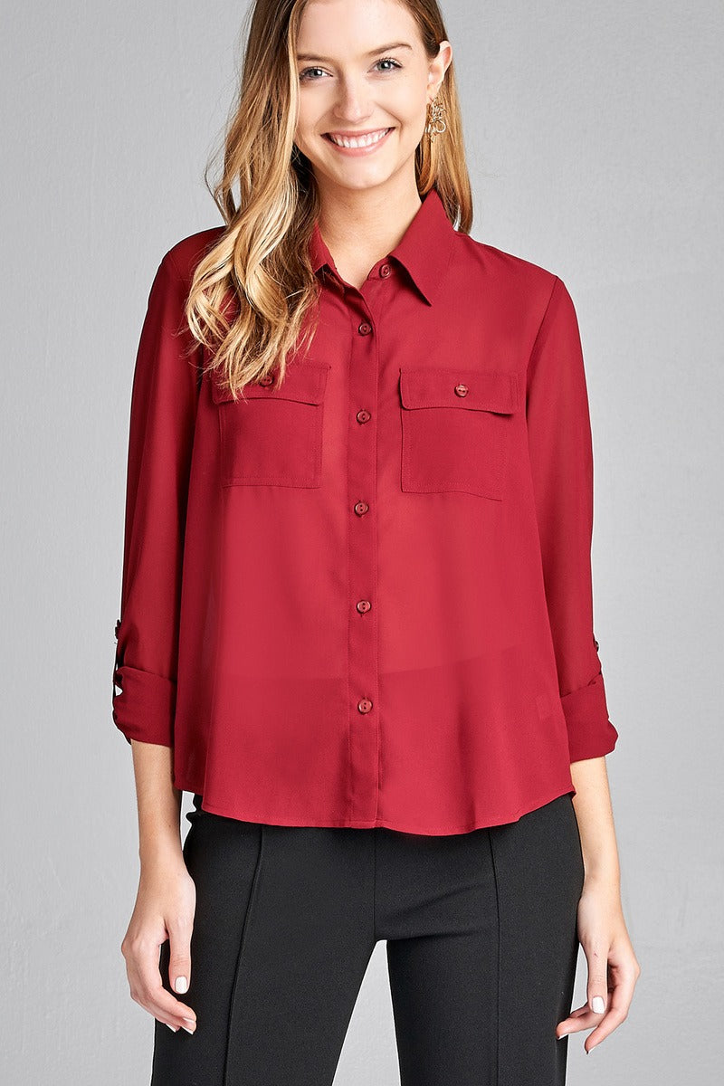 Ladies fashion long sleeve front pocket chiffon blouse w/ back button detail -id.CC35641c