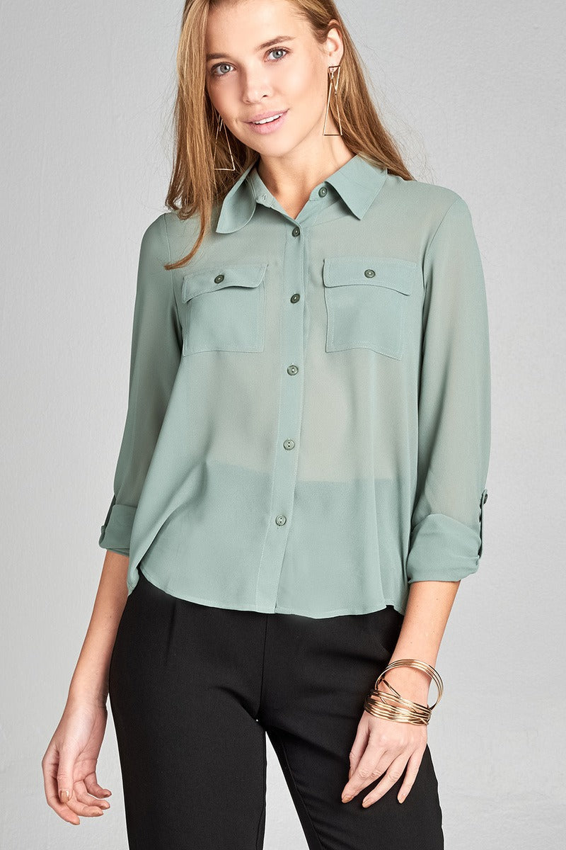 Ladies fashion long sleeve front pocket chiffon blouse w/ back button detail -id.CC35641d