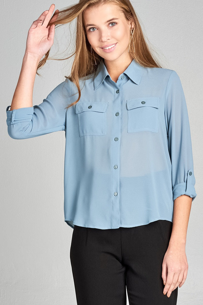 Ladies fashion long sleeve front pocket chiffon blouse w/ back button detail -id.CC35641f