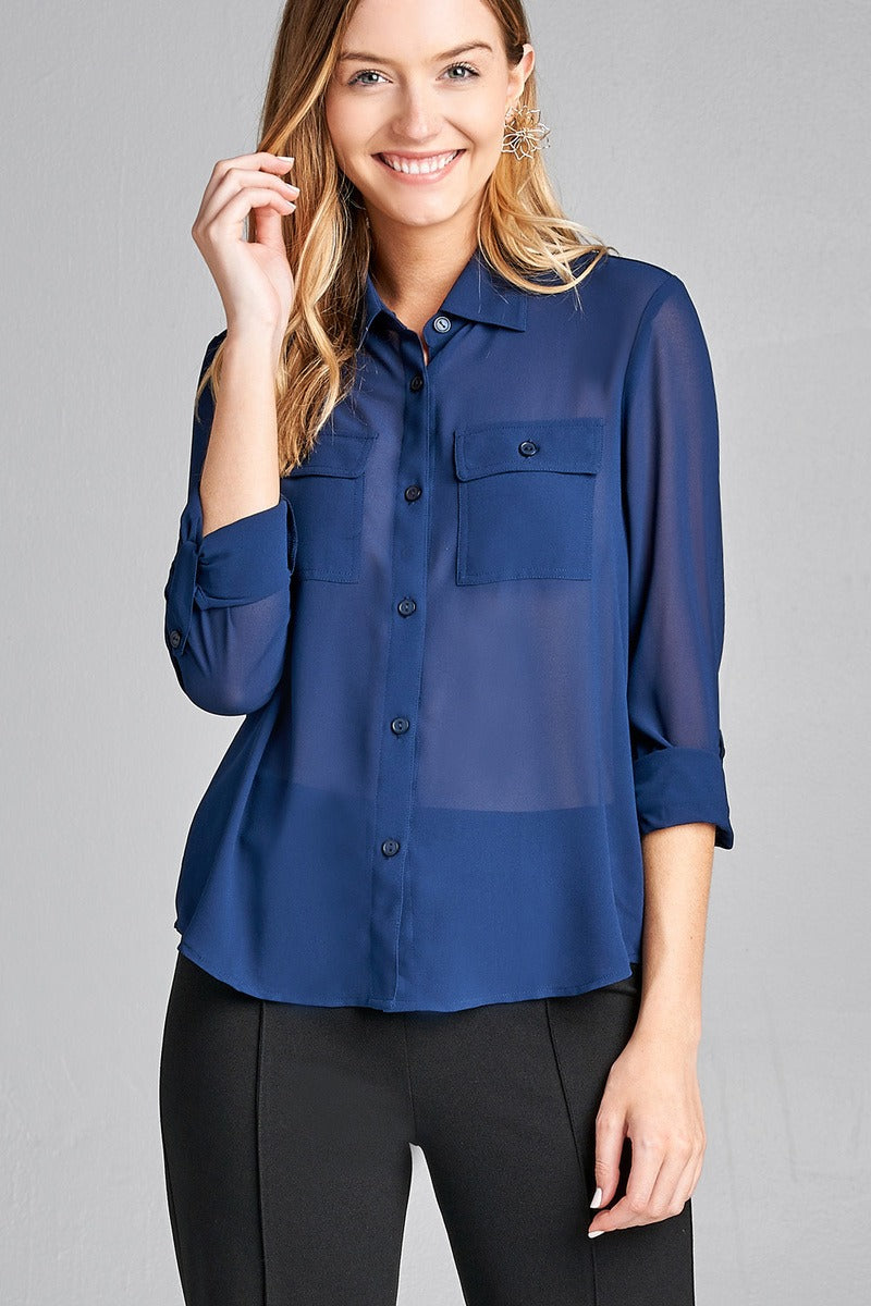 Ladies fashion long sleeve front pocket chiffon blouse w/ back button detail-id.CC35641k