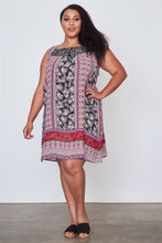 Ladies fashion plus size boho floral mix print sleeveless dress