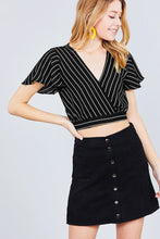 Short Sleeve V-neck W/surplice Tie Detail Multi Stripe Print Woven Top