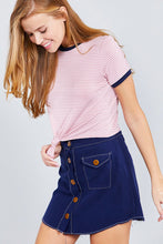 Short Crew Neck W/contrast Binding Front Tie Stripe Rayon Spandex Top