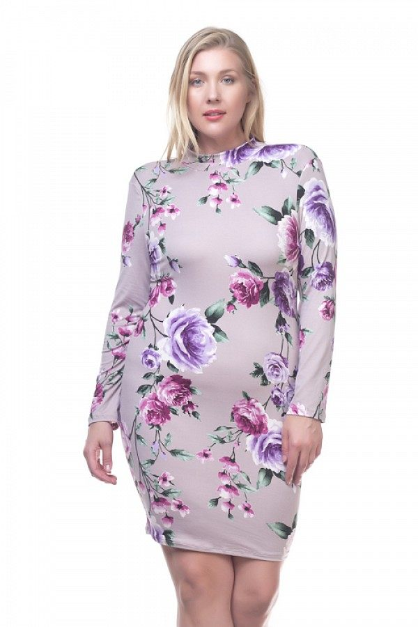 Mock Neck Floral Dress
