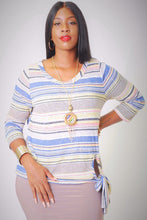 Striped, Waist Length Top