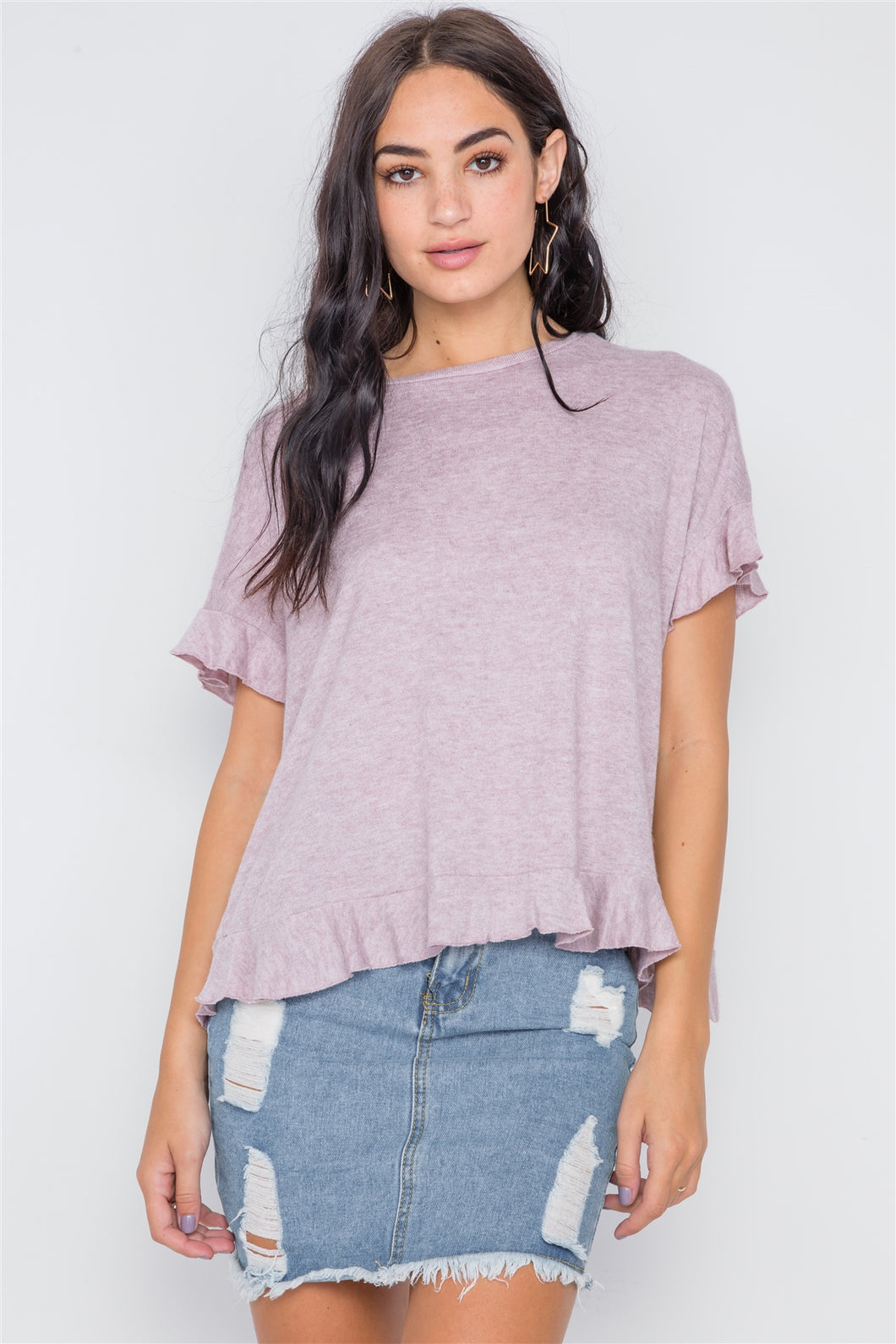 Short Sleeve Surplice Back Ruffle Knit Top