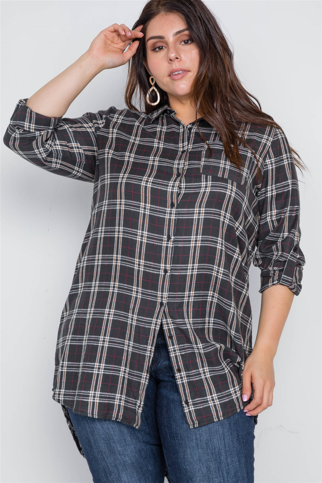 Plus Size Green Taupe Plaid Long Sleeve Top