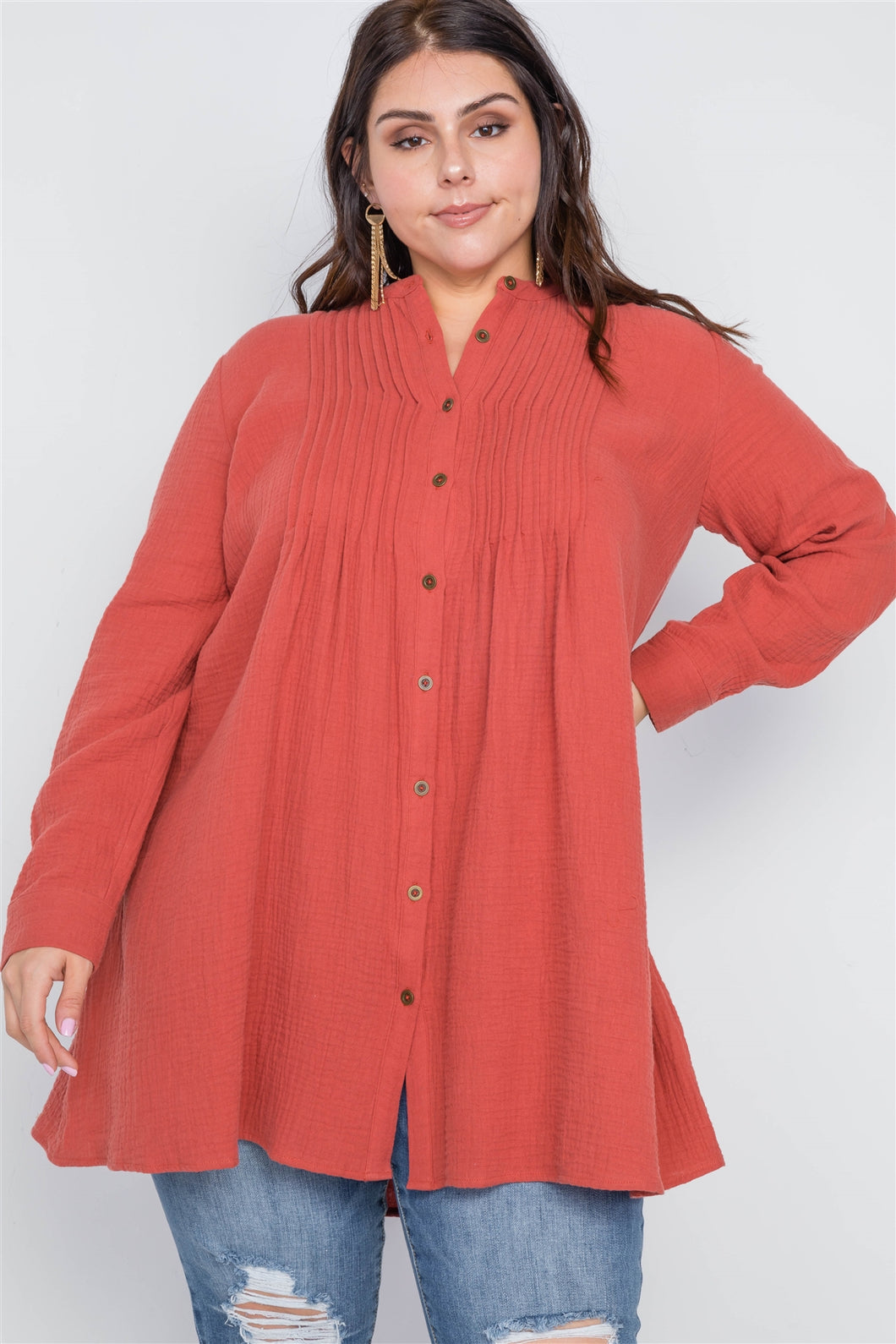 Plus Size Brick Button Down Long Sleeve Shirt Dress