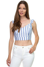 Stripe Ruffle Shoulder Strap Top