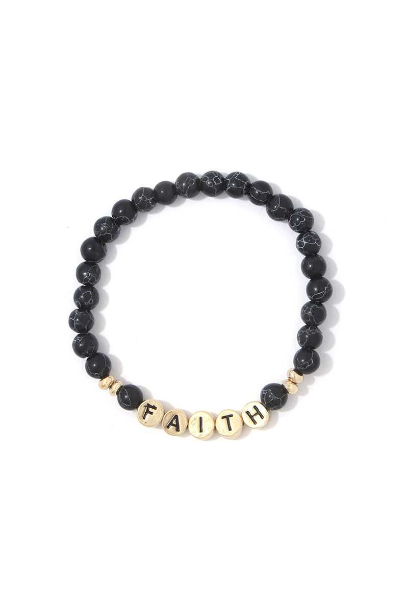 Faith Semi Precious Stone Stretch Bracelet