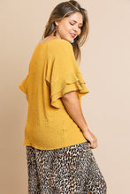 Bubble Crinkle Short Layered Ruffle Sleeve Round Neck Top
