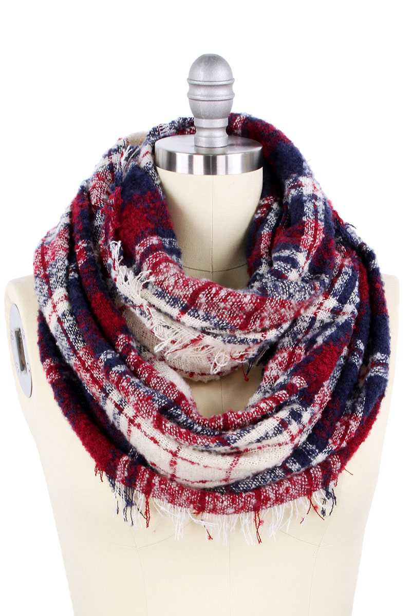Plaid Pattern Wide Infinity Scarf