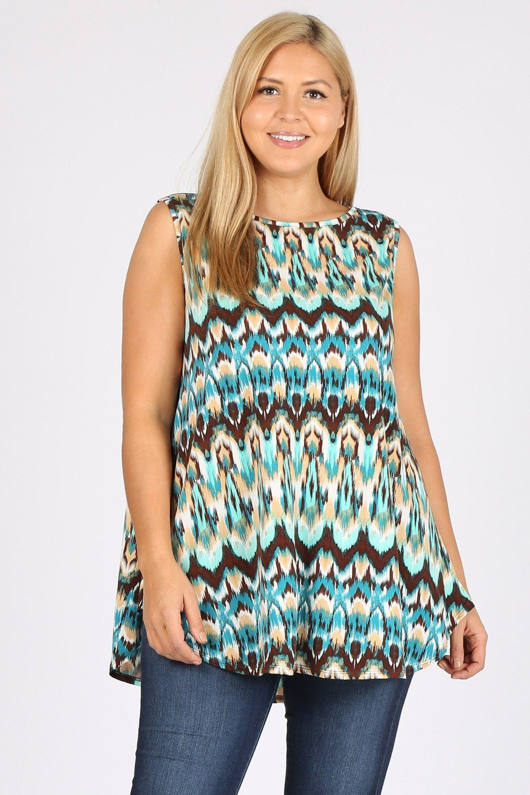 Plus Size Sleeveless Multi Print Tunic Top