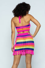 Striped Multi Color Laser Cut Cropped Halter Top/short Skirt Knit 2 Piece Set With Tassels