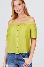 Elbow Sleeve Open Shoulder Button Down Woven Top