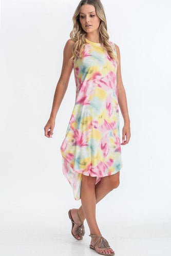 Tie Dye Hi-low Midi Dress