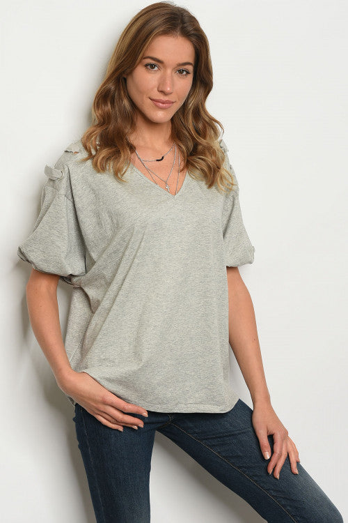 Gray Lace Up Short Sleeve Top