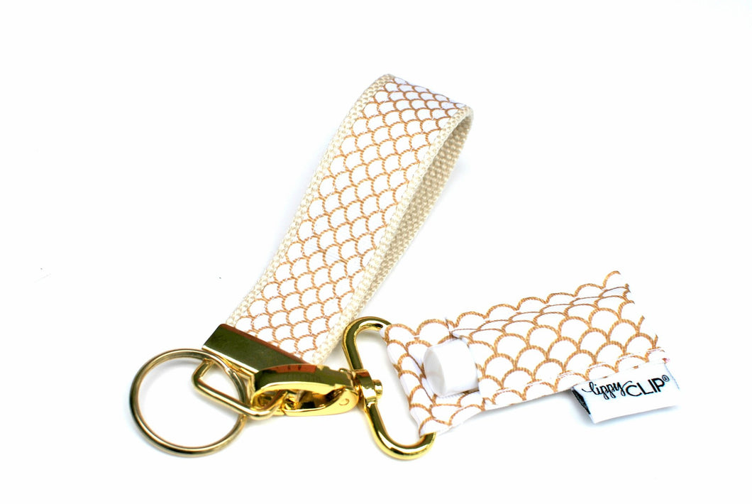 LippyClip® Keychain - Gold and White Mermaid Scales - Natural