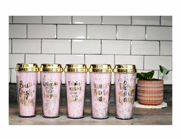 Sparkly fun coffee tumblers with funny sayings