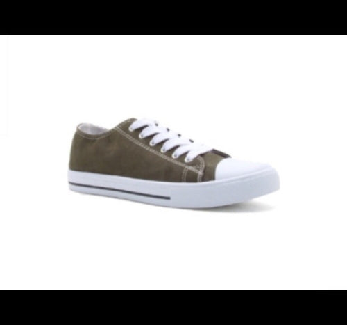 Khaki Brown Canvas Lace Up Sneakers
