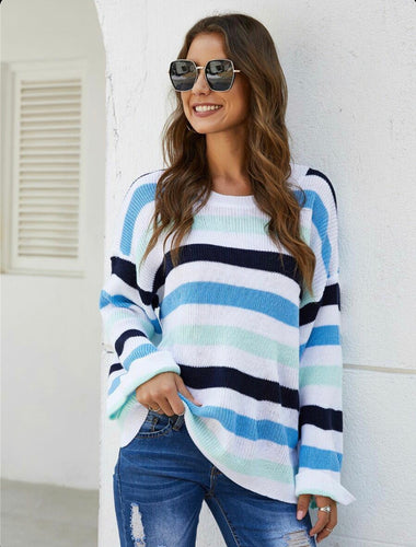 Blue White Striped Lightweight Pullover Sweater