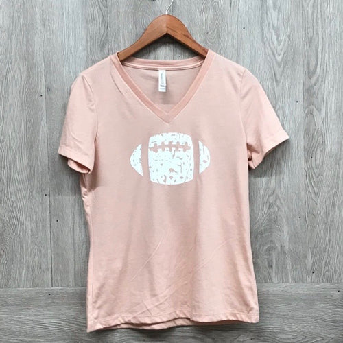 Mauve Distressed Football Handmade V-Neck T-shirt
