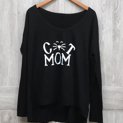 Cat Mom Long Sleeve Black T-Shirt