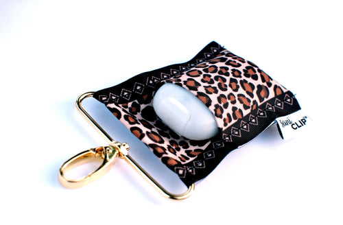 SaniClip™ Hand Sanitizer Bottle Holder - Leopard