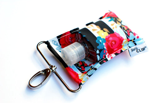 SaniClip™ Hand Sanitizer Bottle Holder - Black White Stripe Floral