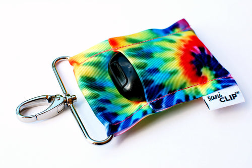 SaniClip™ Hand Sanitizer Bottle Holder - Tie Dye