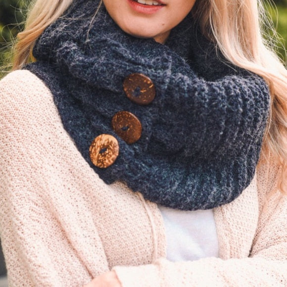 Navy Knit Button Accent Infinity Scarf