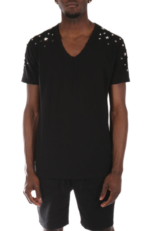 Allston Stud Trim Cotton Short Sleeve V-Neck Tee (STY: DM-102-BLACK)