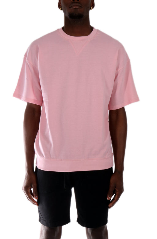 Allston Outfitter Pastel Color Terry Short Sleeve Crew Neck Pull Over Top in Pastel Pink