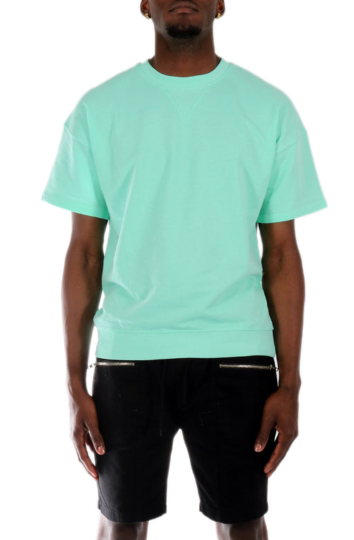 Allston Outfitter Pastel Color Terry Short Sleeve Crew Neck Pull Over Top in Mint
